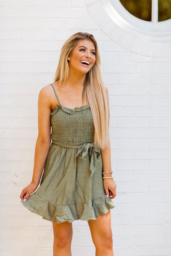 Wishing For The Weekend Dress - Olive