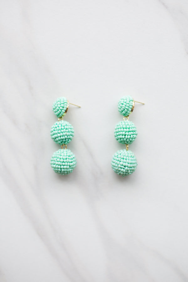 Beaded Babe Earrings- Mint