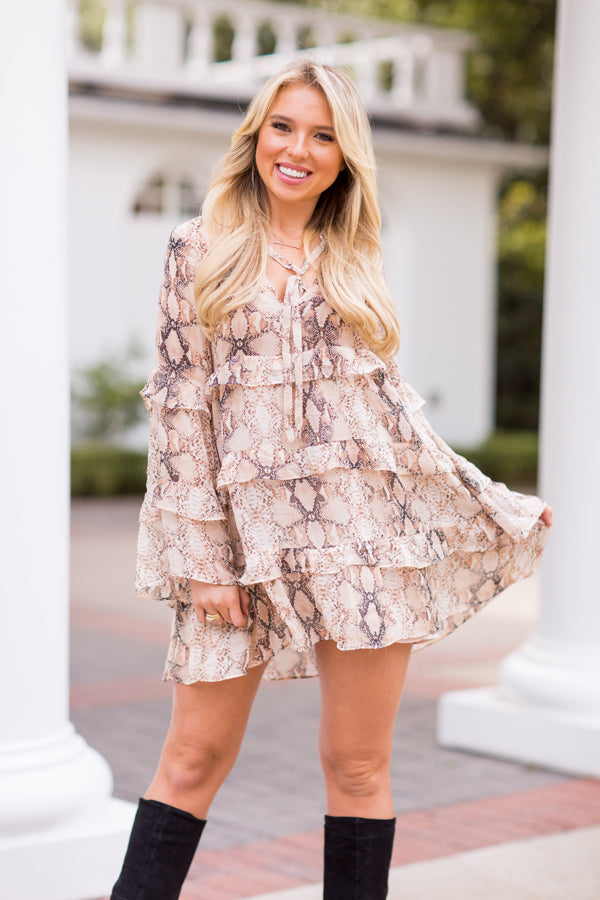 All About A Trend Dress - Khaki Snake
