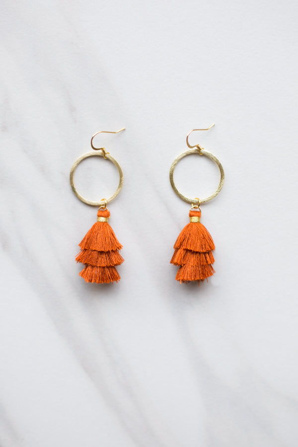 Cierra Tassel Hoop Earrings- Burnt Orange