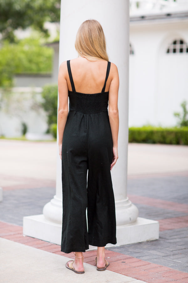 Take Note Jumpsuit- Black