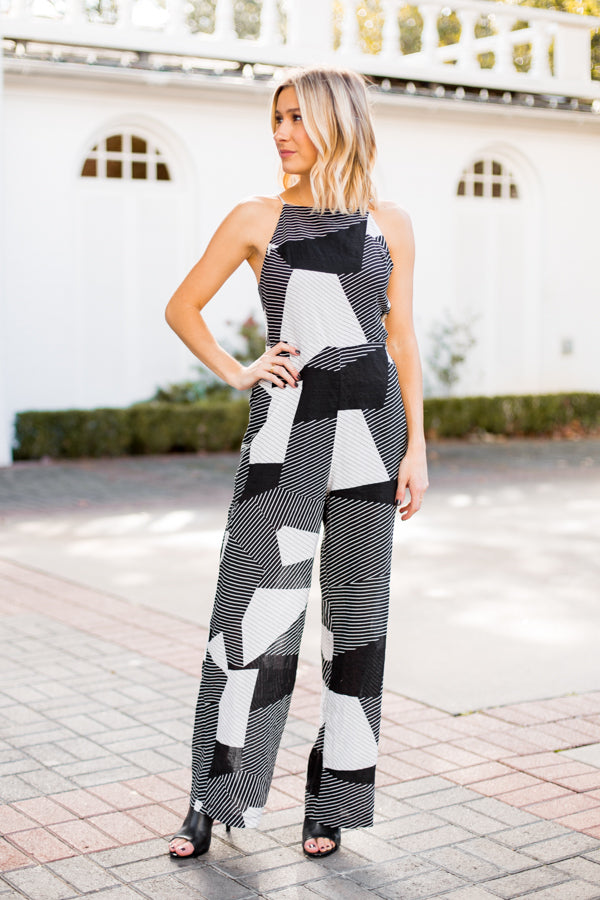 Abstract Print Jumpsuit- Black