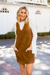 Over & Out Suede Dress- Camel