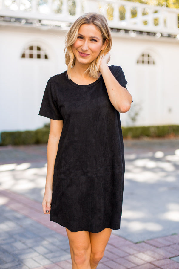 So Soft Suede Dress- Black