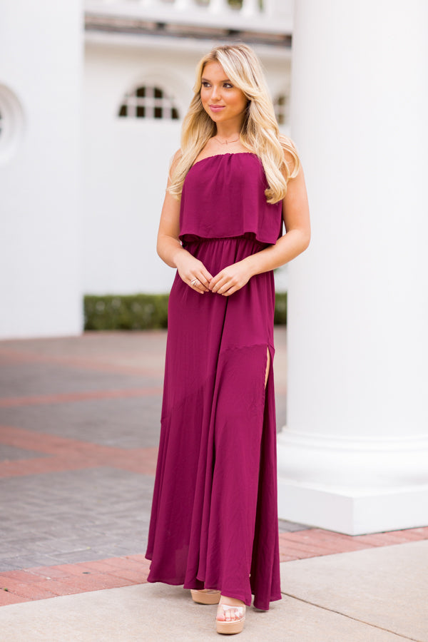 Arriving In Style Maxi Dress - Burgundy