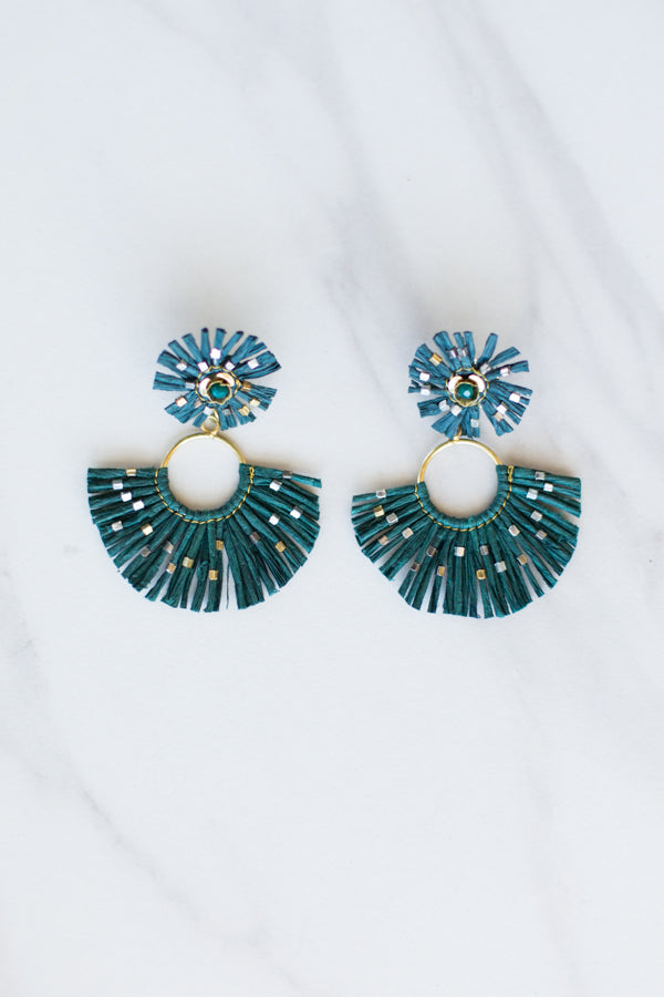 ZaZa Straw Earrings- Forest Green