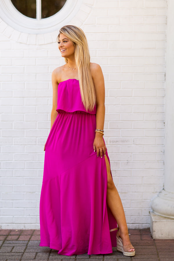Arriving In Style Maxi Dress - Fuchsia