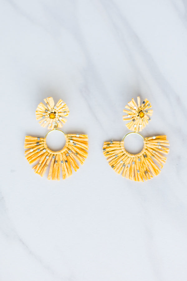 Zaza Straw Earrings- Mustard