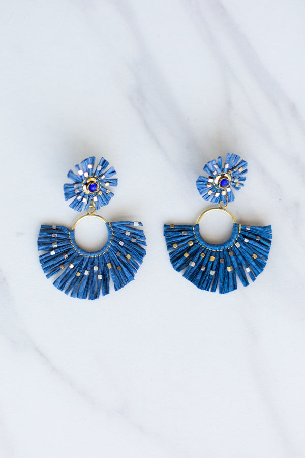 Zaza Straw Earrings- Navy