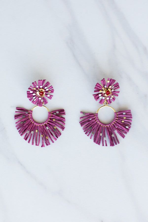 Zaza Straw Earrings- Maroon