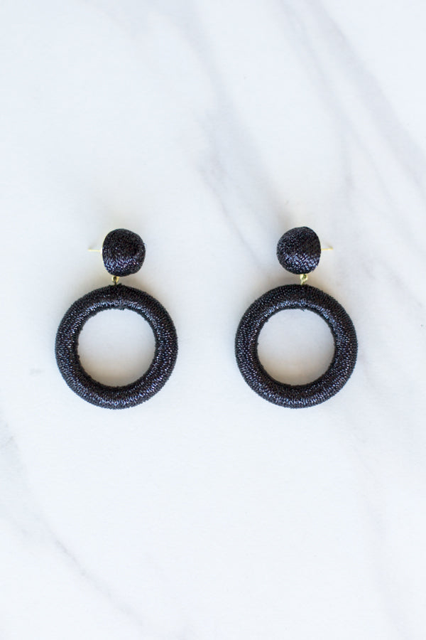 Tinsel Circle Earrings- Black