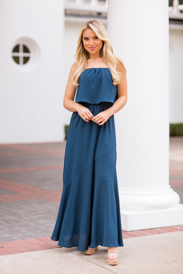 Arriving In Style Maxi Dress - Teal