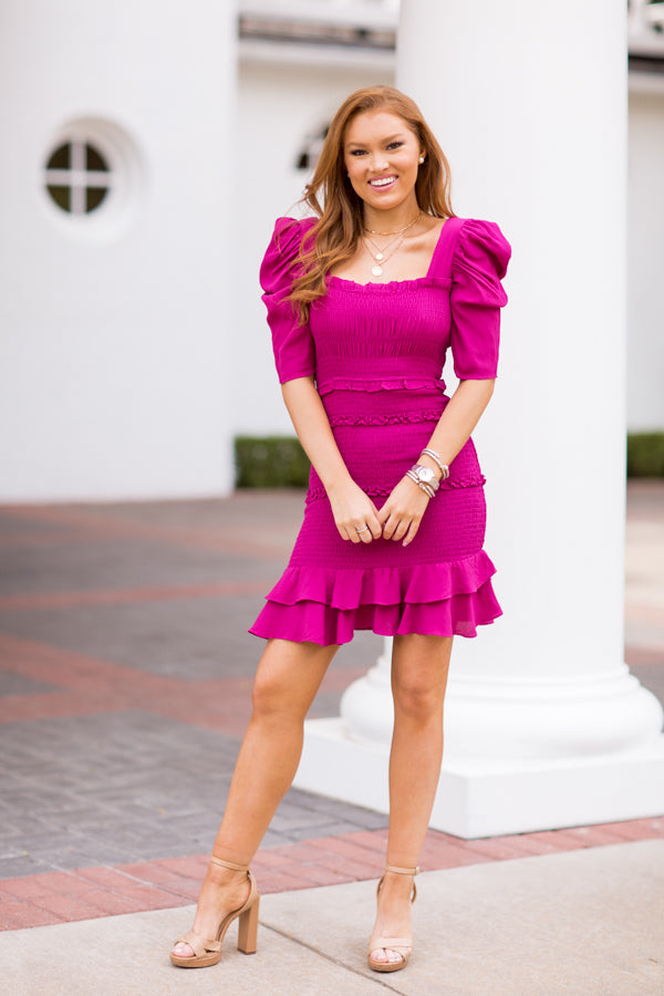 Don't Ruffle My Feathers Dress - Magenta