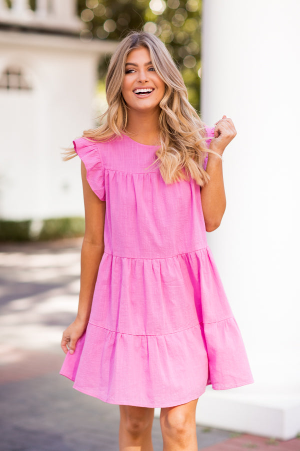 Hugs & Kisses Babydoll Dress - Pink