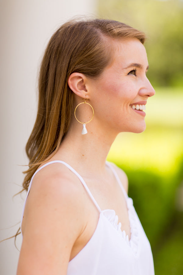 Kelly Tassel Earrings - White