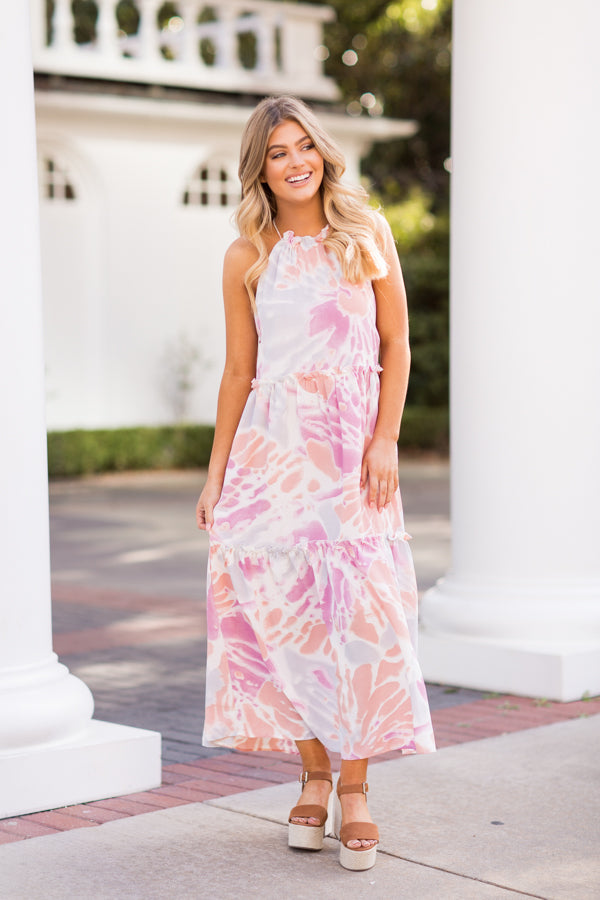 Save The Date Maxi Dress - Pink & Salmon