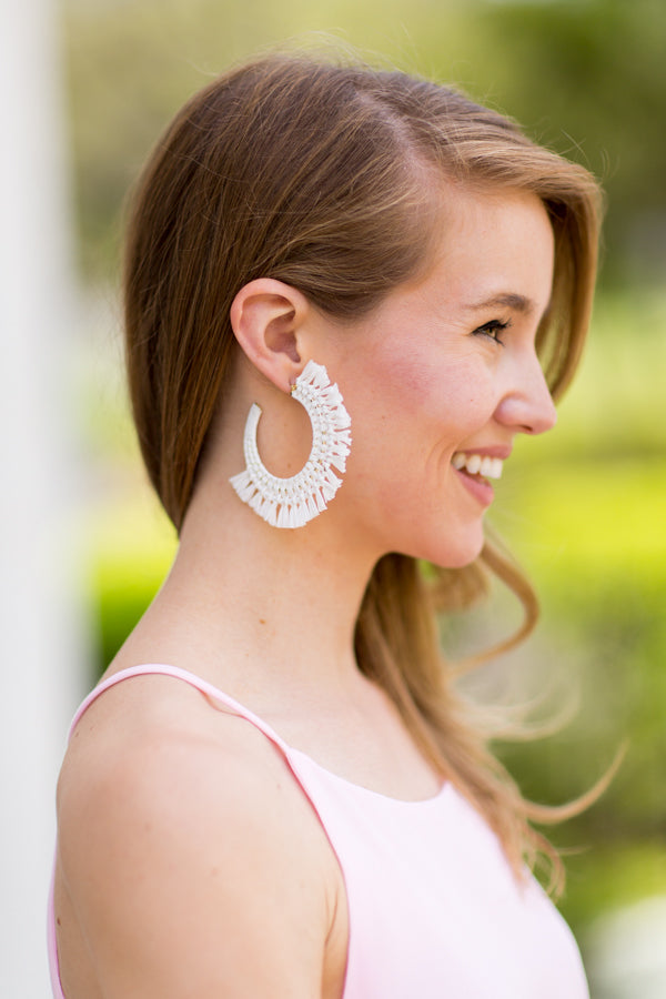 White Sands Straw Earrings