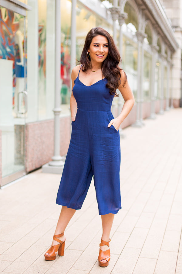 Days In Dallas Jumpsuit- Navy