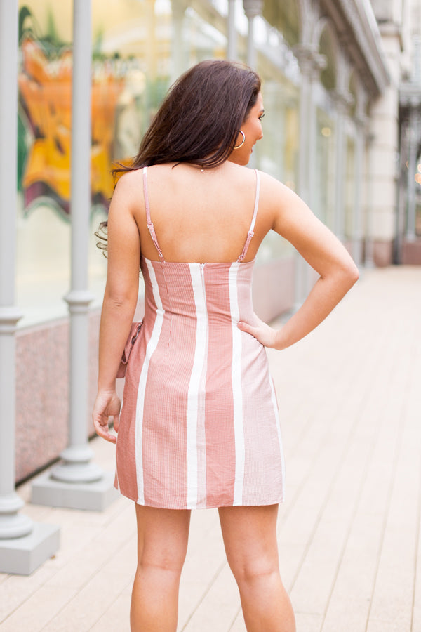 Striped Wrap Dress -Marsala