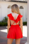 Arrabbiata Romper- Red Orange