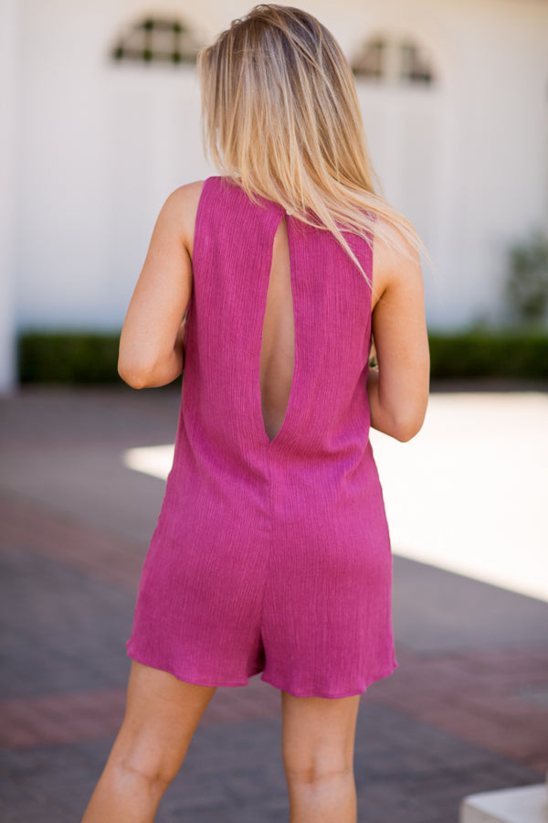 Back To It Romper- Berry