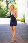 All Play Button Down Dress- Navy