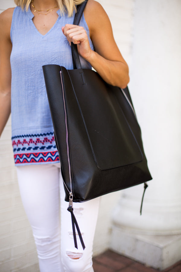 Oversized Tassel Tote- Black