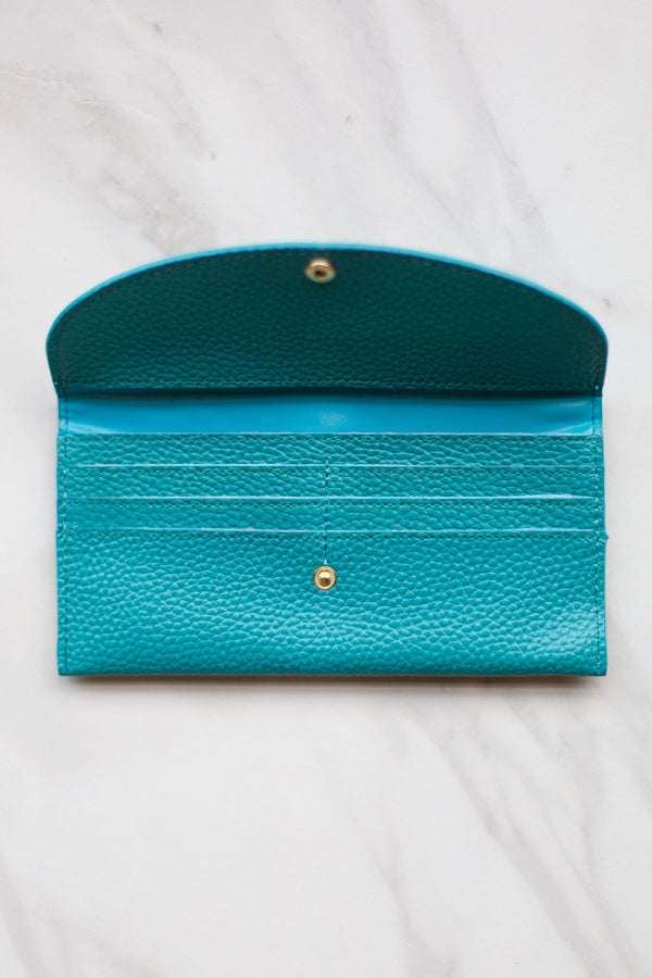 Leather Clutch Wallet- Turquoise
