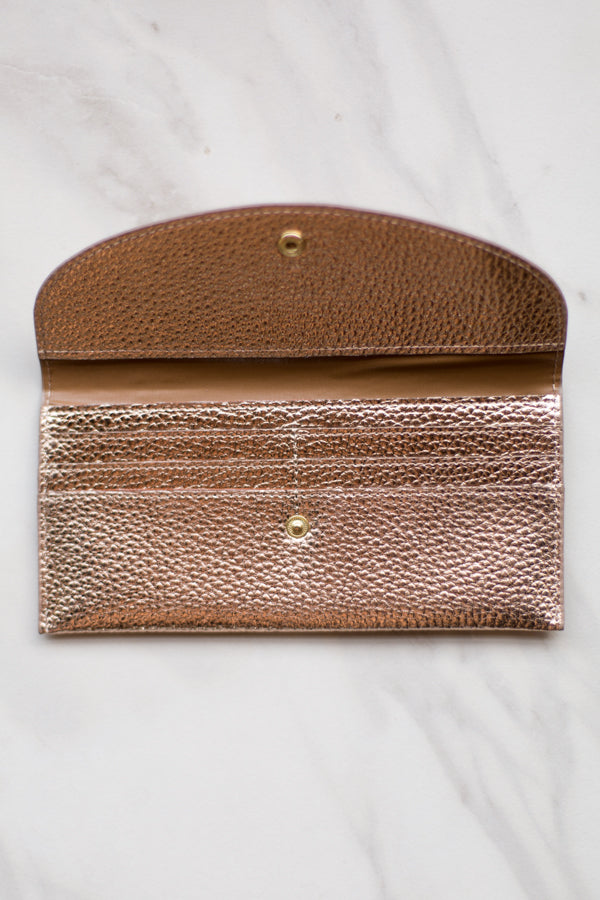 Leather Clutch Wallet- Rose Gold