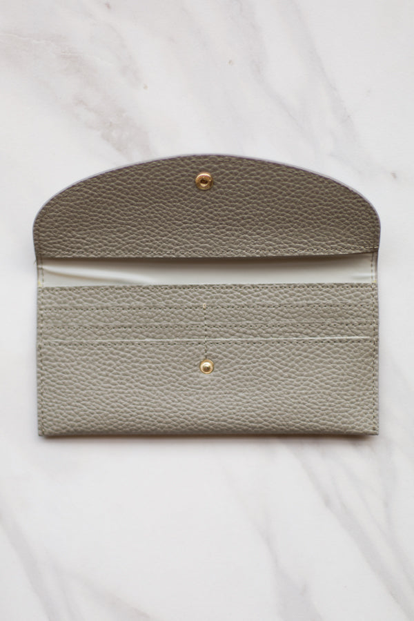 Leather Clutch Wallet- Grey