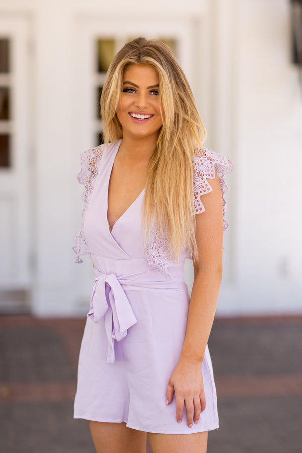 To A Tea Romper- Lavender