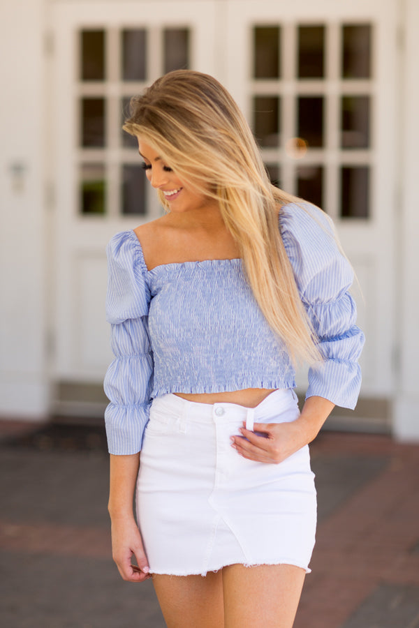 Nantucket Stripes Top- Blue