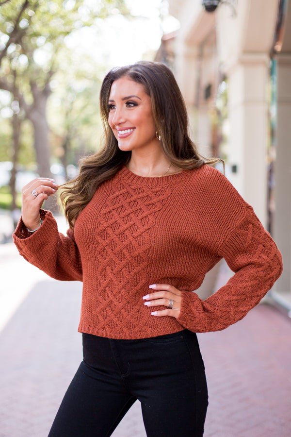 BB Dakota Retro Active Cable Knit Sweater - Burnt Orange