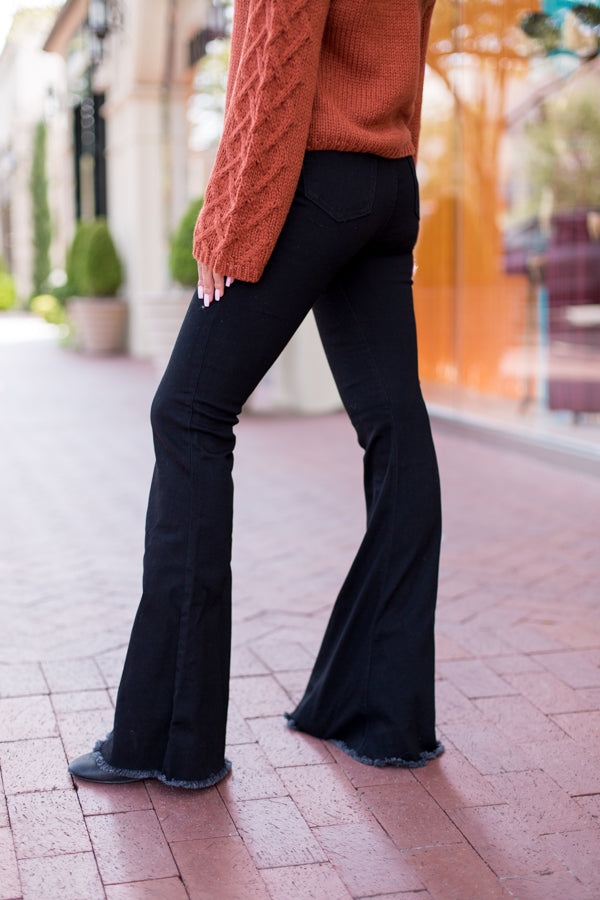 Let's Groove Bell Bottom Jeans - Black