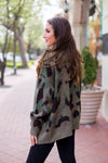 Cozy In Camo Cardigan - Olive