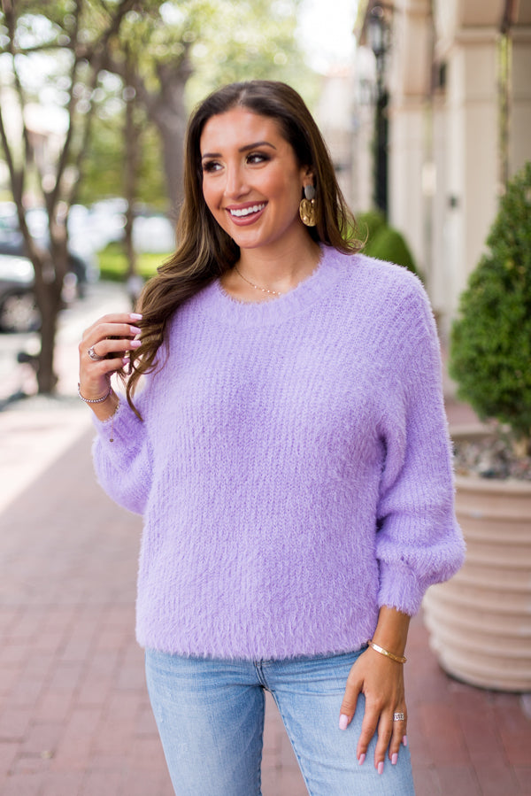 All The Fuzz Sweater- Lavender