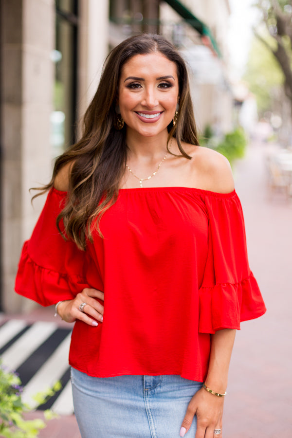 Red Hot Off The Shoulder Top
