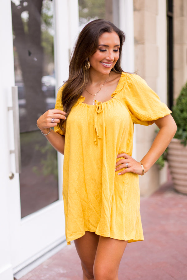Cheer On Cheetah Dress - Mustard