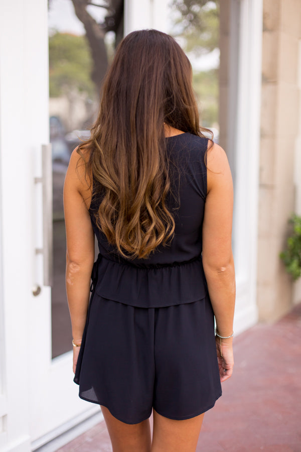 Time To Tailgate Romper - Black