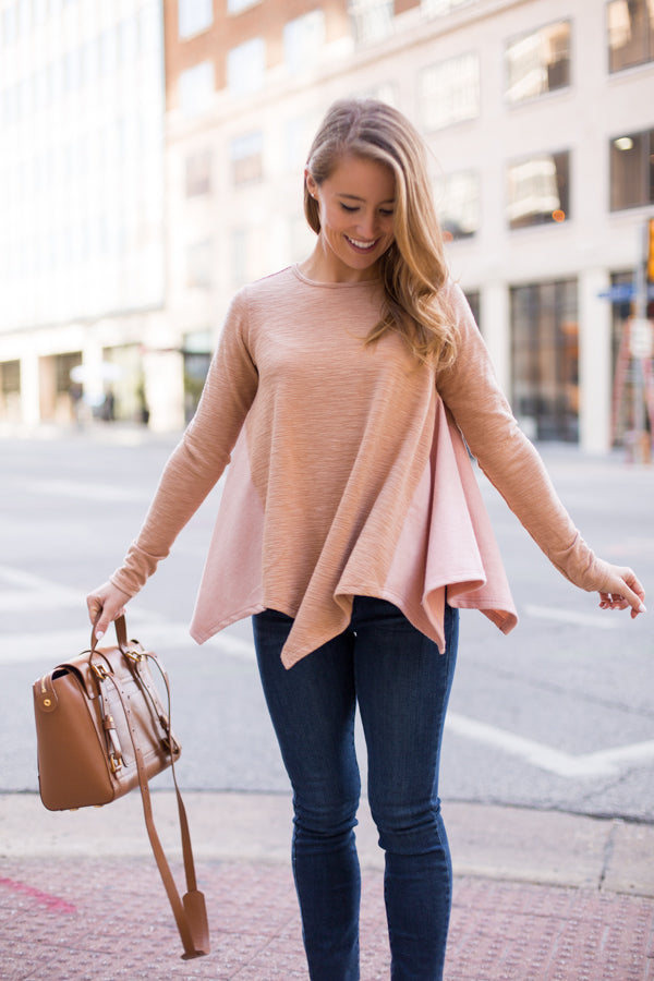 Casual Obsession Sweater - Beige & Pink
