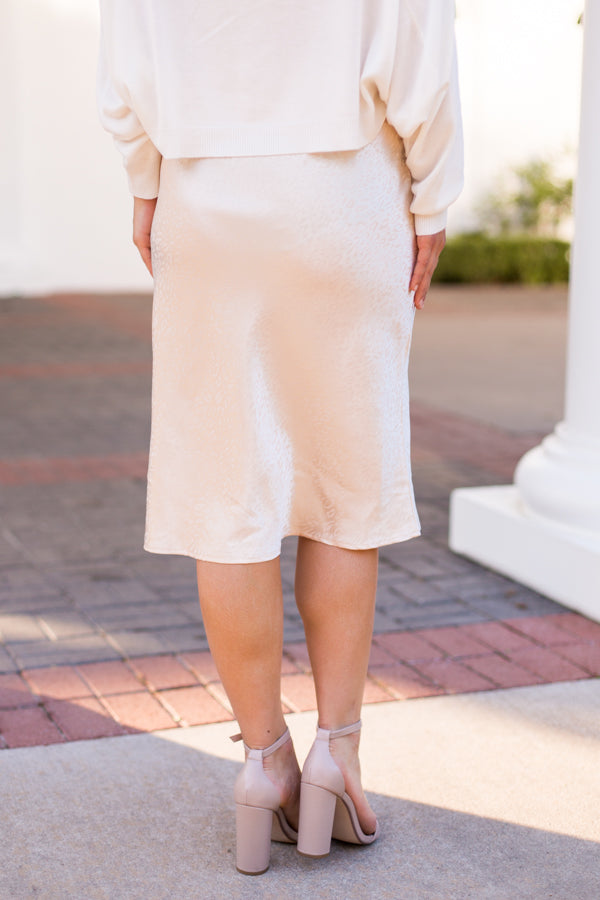 Silky On The Run Midi Skirt - Champagne