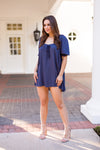 Cheer On Cheetah Dress - Navy