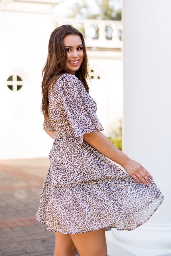 In The Wild Dress - Beige Leopard
