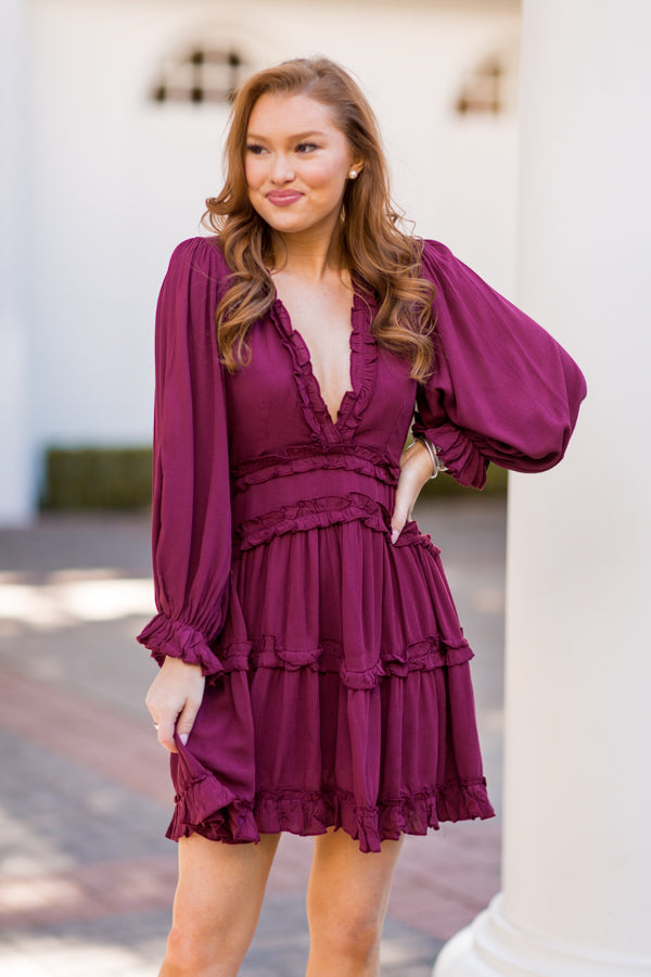 Gather Together Dress - Burgundy