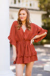 Sweet As Pie Romper - Rust