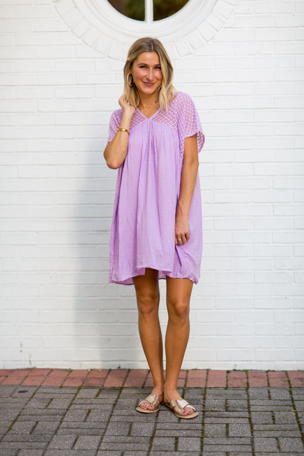 Feel The Breeze Babydoll Dress- Lilac