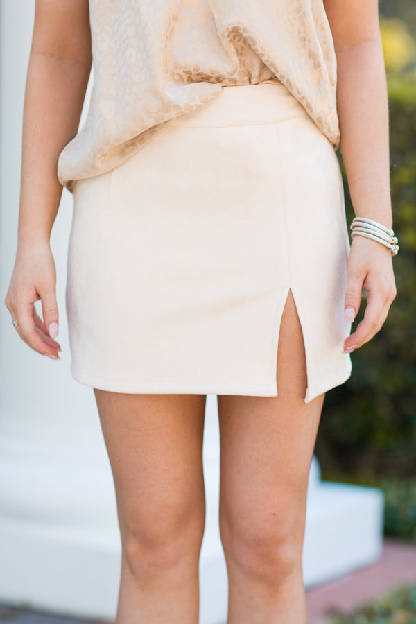 Split Decision Suede Skirt - Natural