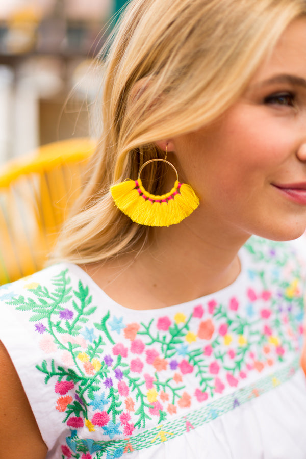 Fiesta Fanfare Earrings- Yellow