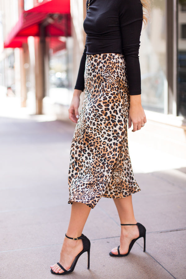 Say It Loud Midi Skirt - Leopard