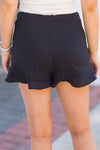 Ruffle Around The Edges Shorts - Black